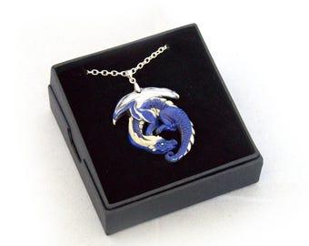 Ocean's Watcher Guardian Pewter Dragon Pendant