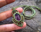 Macrame boho chic necklace elven Fluorite pendant bohemian jewelry by Creations Mariposa READY TO SHIP