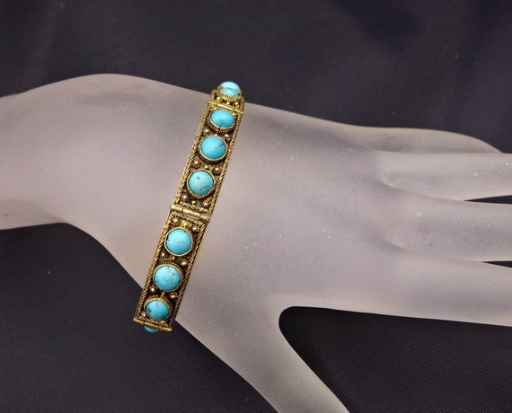 Vintage Ethnic Persian Turquoise and Gold Wash Silver Chinese Export Bracelet,Art Deco  Turquoise Bracelet,