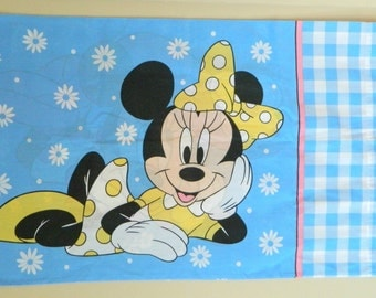 Adorable 1990's Disney Minnie Mouse Double Sided Pillowcase- Purple Yellow Blue Cute Kid's Bedroom Linens Sham Mickey Cartoon Retro