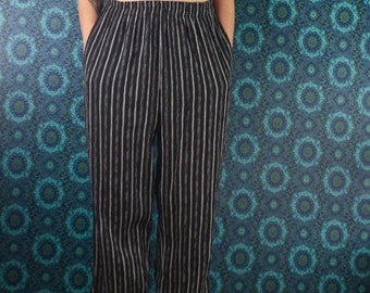 90's Pinstripe PANTS // Elastic Waist Leisure // Size Medium