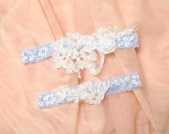 Wedding Garter Set something blue garter set white lace pearl deco bridal  goth gothic Lolita victorian baby blue
