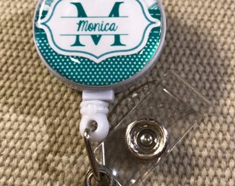 Monogram Personalized Badge Reel  - Your Choice of Colors