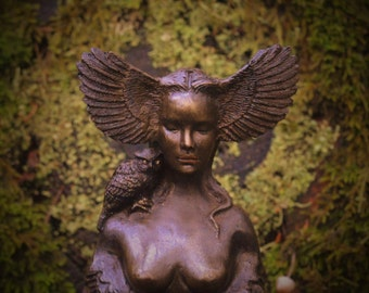 Owl Goddess, Talking Stick, Bird Woman with Wings, Sculpture by ShapingSpirit, Debra Bernier