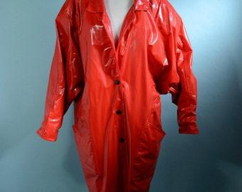 Vintage 80s Red Vinyl Raincoat + Hat, Paddington Style, Batwing Sleeve Hip Hop Raingear, Reptile Pattern Grunge Coat