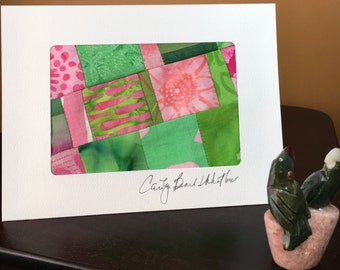 Mini Art Quilt//Art Quilt Blank Notecard//Art Card//Thank You Note//Greeting Card//Hostess Gift//Thank You Gift//FREE SHIPPING