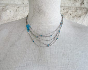 Liquid Silver Necklace Vintage Turquoise and Liquid Silver Southwestern Necklace Five Strands