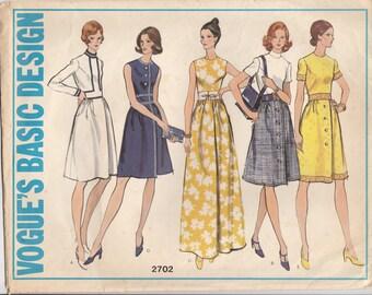 Versatile Basic 70s Dress Pattern Vogue 2702 Size 14 1/2 Uncut