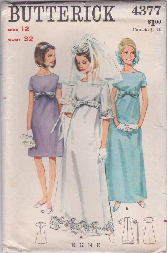 60s empire waist bridal dress pattern butterick 4377 size 12 for Empire waist wedding dress patterns
