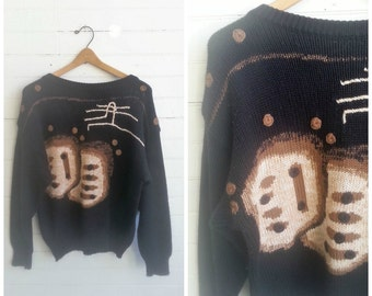 Vintage Givenchy sweater, Givenchy sweater, 1980s designer sweater, oversize sweater