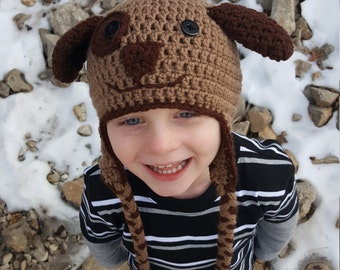 Crochet Brown Dog Winter Hat, Hats for Children, Puppy Hat, Crochet Winter Hat With Ear Flaps, Gifts for Dog Lovers, Brown Puppy Dog Hat