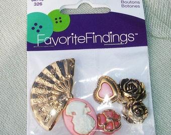 Decorative Shabby Chic Plastic Buttons - 6pcs - Cameo, Fan, Flowers, Heart