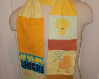 T-Shirt Scarf: Chicks Rule, Girl Power, Women's Lib, OOAK scarf, OOAK gift,  Chicken Farmer,  Barnyard animals,  Girls Rule, whimsical scarf