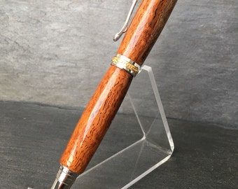 Custom Fountain Pen  - Two-Tone Afzelia Xylay with Rhodium and 22k Gold