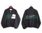vintage windbreaker / NIKE / Swoosh / warm up jacket /1990s black and green NIKE windbreaker Medium