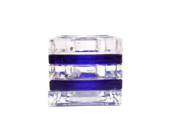 Vintage Cobalt Blue Glass Votive Holder Art Glass Tealight Candle Holder Clear Glass Blue Stripes