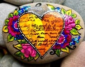 Reserved for Julie / morning sunshine / painted rocks / painted stones / heart stones / rock art / love  from cape Cod / Sandi Pike Foundas