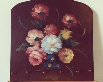 Floral 1950's Wooden Key Hook