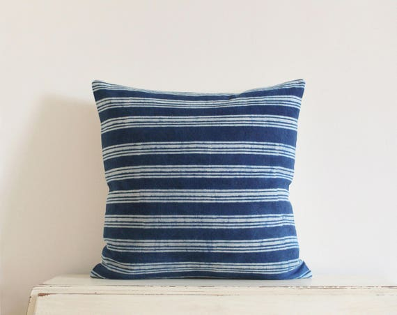 Indigo batik stripe pillow cushion cover