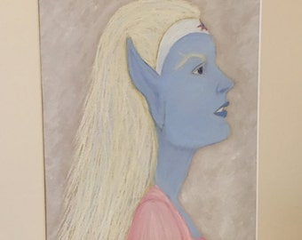 Blue Elf Fantasy Pastel Drawing