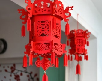 Chinese wedding double happiness 3D lantern, felt lantern, Wedding decor, DIY wedding, DIY kit