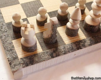 Rustic Chess Set Log Wooden Chess Board Handmade Chess Set Natural Family Board Game Classic