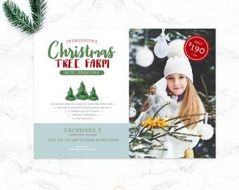 Mini Session Template - Photography Templates -  Holiday Winter Mini Session Template - Christmas Tree Farm Mini Template  - Sku MS021
