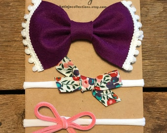 Liberty of London Bow Set/Felt Bow Set/Suede Bow Set/Newborn Headband/Photo Prop