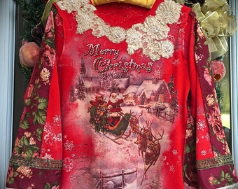 Izzy Roo Romantic Christmas Tunic Darling Antique Style Christmas Designs Patchwork Embellished Beauty OOAK Art Wear