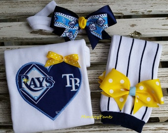 Tampa Bay Rays Baby - Girl's Baseball Bodysuit - Matching Leg Warmers - MLB Tampa Bay Rays Bodysuit - Baby Shower Gift