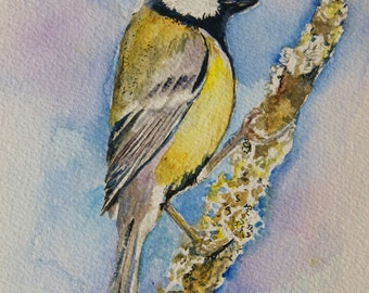 Great Tit painting - original watercolor