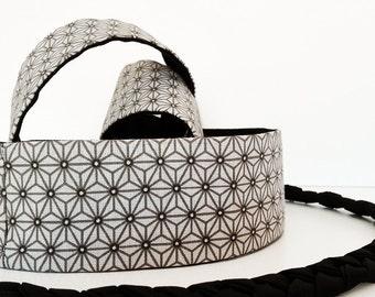 Mini Obi belt Fumiko - white, brown and black belt with black braided straps- 100% cotton-japanese embroidery-sashiko pattern-