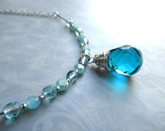Silver Bar Necklace Ocean Opal Necklace Blue Gemstone Necklace Blue Pendant December Birthstone Jewelry Teal Blue Necklace- Elegance