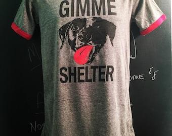 ALL SIZES Men's unisex gray red ringer GImme Shelter tee  shelter dog rescue t shirt Benefits Rescue efforts