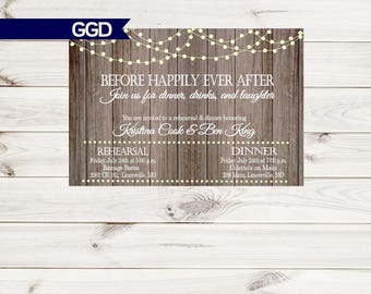 Vintage Lights on Rustic Wood Rehearsal Dinner Invitation, rehearsal and dinner invite, wedding rehearsal dinner invitation