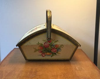 Rare and Beautiful BritishTin in the shape of basket,Bisquit Tin,Floral,Sewing Basket,Basket Tin