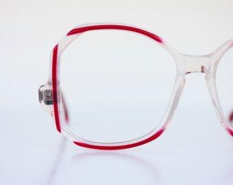 Vintage Oversized Red Angular Eyeglasses
