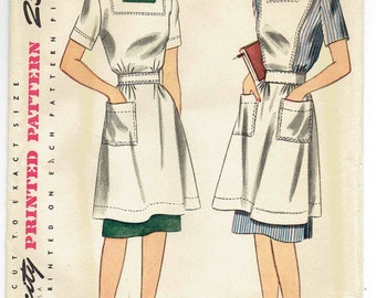 Official Red Cross Home Nursing Pinafore & Canteen Apron Simplicity Pattern 4694. Coverall Apron with Sleeves or Bib Apron. Size 16 Bust 34
