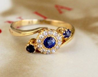 Edwardian Sapphire Diamond Engagement Ring, 18k Gold Antique Past Present Future Ring, Sapphire Diamond Halo Ring, Natural Sapphire Ring