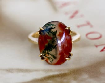Vintage 6.9ct Scottish Moss Agate Ring, Dendritic Agate Ring, 1960s Victorian Revival Gold Ring, Carnelian Engagement Ring, Outlander