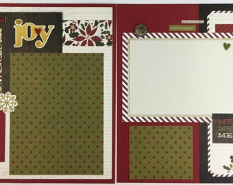 Pre-made Christmas Scrapbook Page Layout 2 pages 12x12 Holiday December Santa Reindeer