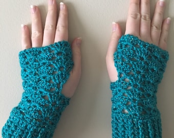 READY TO SHIP Fingerless Gloves - Wrist Warmers for Women/Teens - Turquoise Sparkle