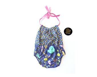 Romper Summer Halter Top Underwater Beach Baby Girls Cotton Handmade One Piece
