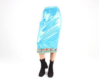 Aqua Blue METALLIC Lamé Holographic High Waist Fitted Shiny Midi / Maxi Dance Costume Skirt