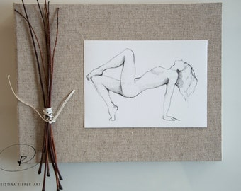 Original nude pencil drawing, Yoga, nude pose, pencil drawing, art drawings, nude drawing, pencil art, original art, drawing, nude art, nude