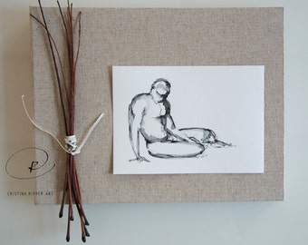 Male nude pose ink drawing on paper-Original drawing,male minimal nude art,nude drawing,ink art,original male pose art by Cristina Ripper