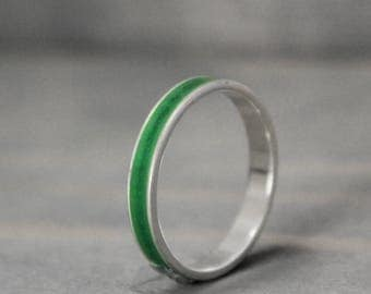 Malachite Ring, Sterling Silver Ring, Thin Silver Ring, Inlay Ring, Green Ring, Silver Band, Metaphysical Ring, Meditation Jewelry