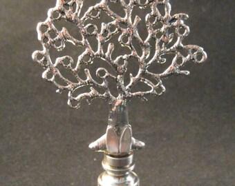 Lamp Finial-ANTQ. SILVER TREE Lamp Finial-Satin Nickel Base