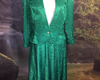 Vintage Green Swirl Abstract Skirt and Blouse By Leslie Fay Size 14
