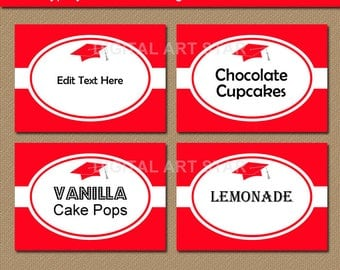 Red Graduation Labels, INSTANT DOWNLOAD College Graduation Candy Buffet Labels, High School Graduation Party Decorations, Buffet Cards G1